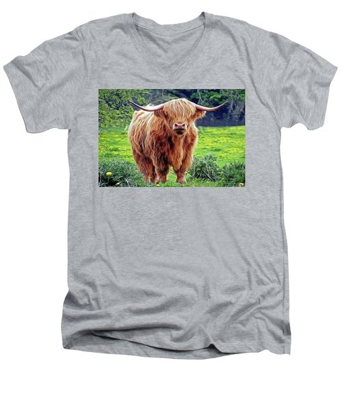 Men's V-Neck T-Shirt featuring the painting Highland Cow by Harry Warrick