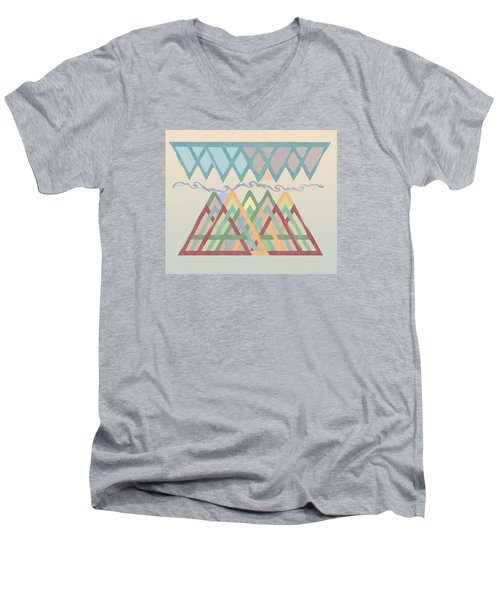 Men's V-Neck T-Shirt featuring the digital art Highlands Anvil by Deborah Smith