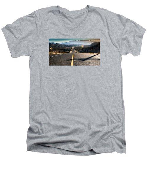 Men's V-Neck T-Shirt featuring the photograph Highway 170 To Big Bend by Allen Biedrzycki