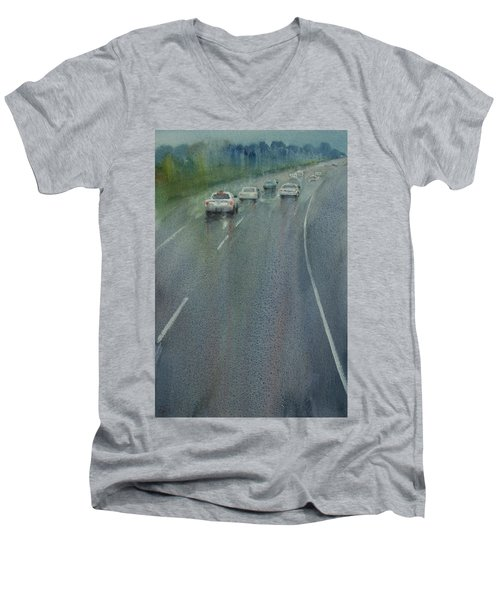 Highway On The Rain02 Men's V-Neck T-Shirt by Helal Uddin
