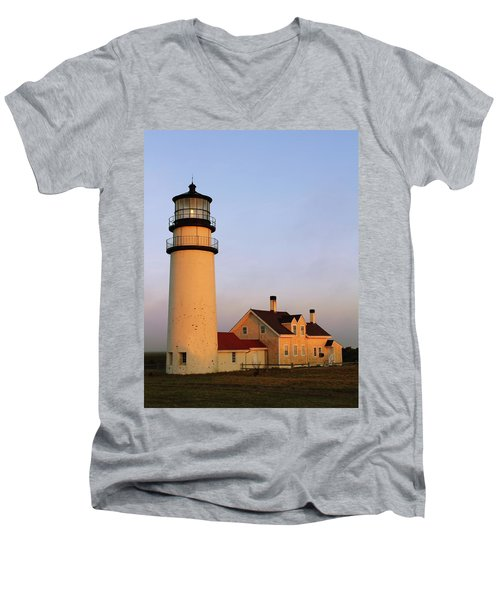 Men's V-Neck T-Shirt featuring the photograph Higland Lighthouse Cape Cod by Roupen  Baker