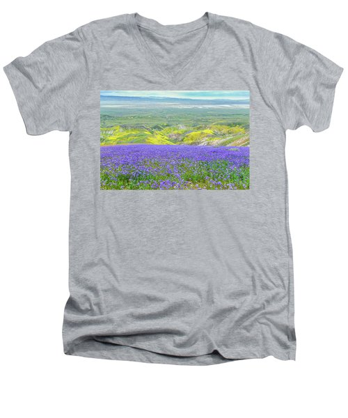 Hike To The Top Of Temblor Range Men's V-Neck T-Shirt by Marc Crumpler