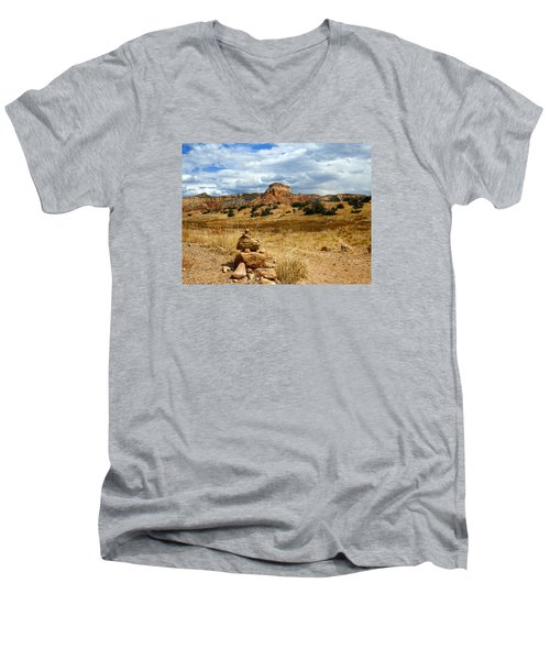 Men's V-Neck T-Shirt featuring the photograph Hiking Ghost Ranch New Mexico by Kurt Van Wagner