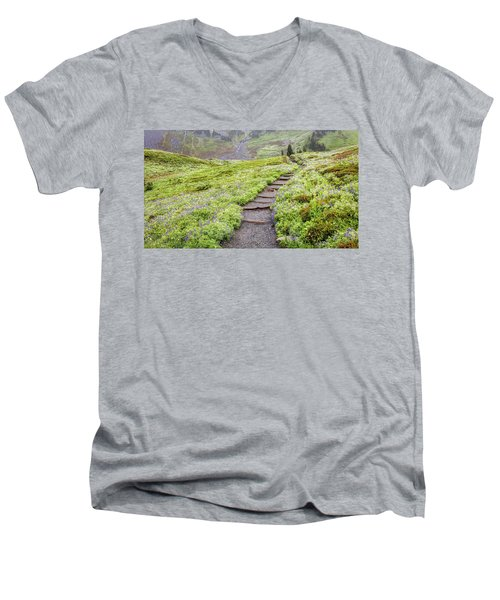 Men's V-Neck T-Shirt featuring the photograph Hiking Mount Rainier In The Fog by Pierre Leclerc Photography