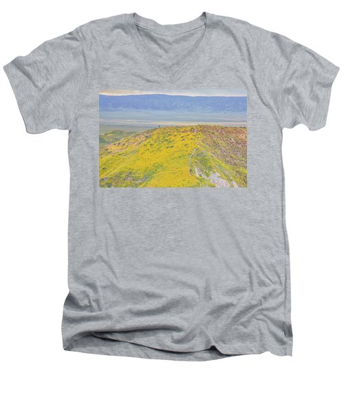 Men's V-Neck T-Shirt featuring the photograph Hiking The Temblor by Marc Crumpler