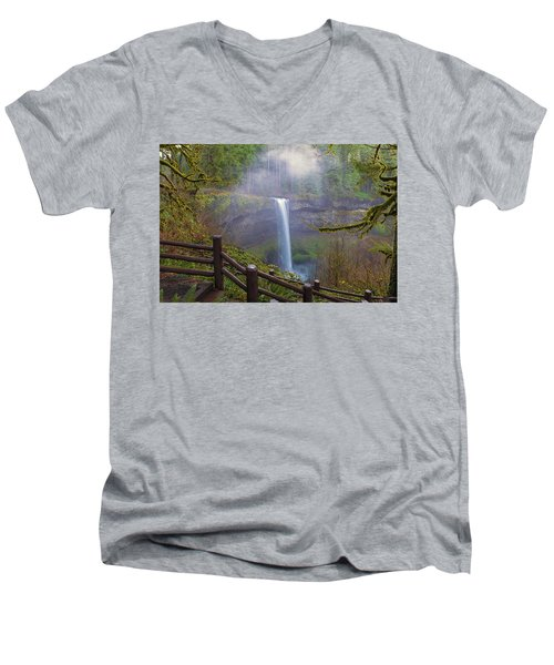 Hiking Trails At Silver Falls State Park Men's V-Neck T-Shirt
