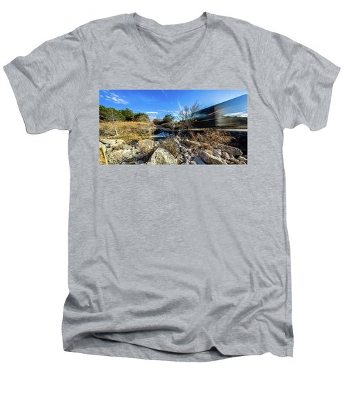 Hill Country Back Road Long Exposure #2 Men's V-Neck T-Shirt by Micah Goff