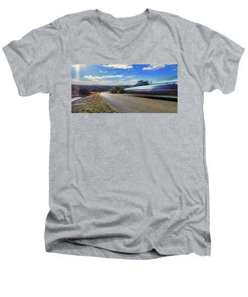 Hill Country Back Road Long Exposure Men's V-Neck T-Shirt by Micah Goff