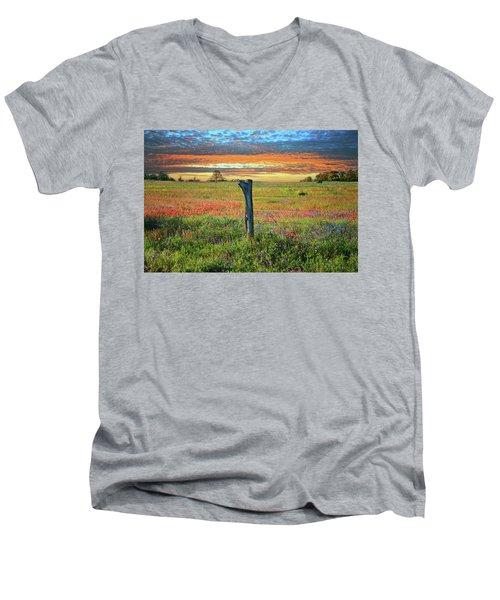Hill Country Heaven Men's V-Neck T-Shirt by Lynn Bauer
