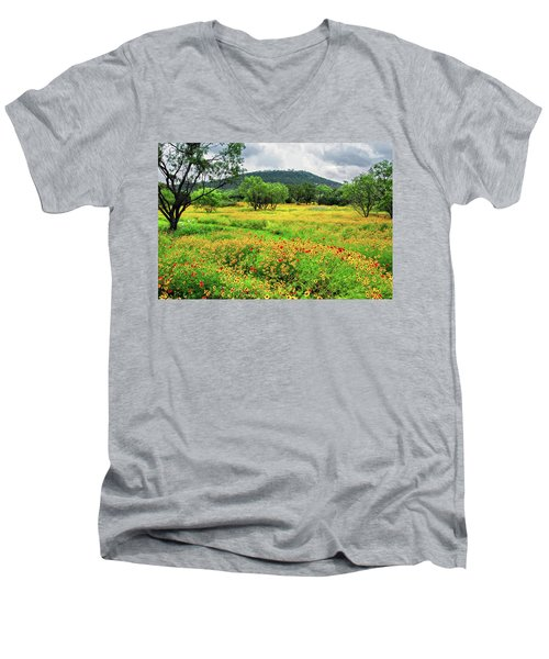 Hill Country Wildflowers Men's V-Neck T-Shirt by Lynn Bauer
