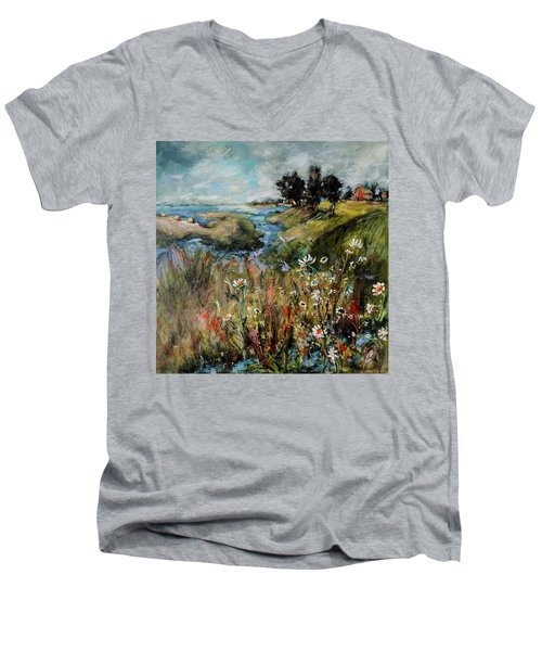 Hill Top Wildflowers Men's V-Neck T-Shirt by Sharon Furner