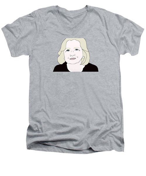 Hillary Clinton Men's V-Neck T-Shirt by Priscilla Wolfe