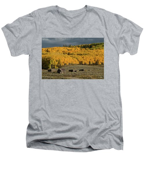 Men's V-Neck T-Shirt featuring the photograph Hills Afire by Dana Sohr