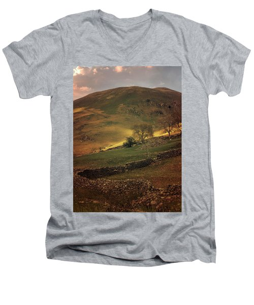 Hills Of Scotland At The Sunset Men's V-Neck T-Shirt by Jaroslaw Blaminsky