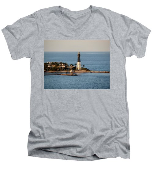Hillsboro Lighthouse In Florida Men's V-Neck T-Shirt
