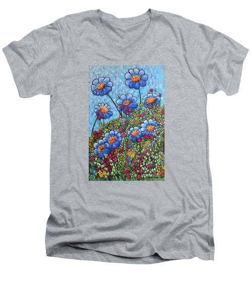 Hillside Blues Men's V-Neck T-Shirt by Holly Carmichael