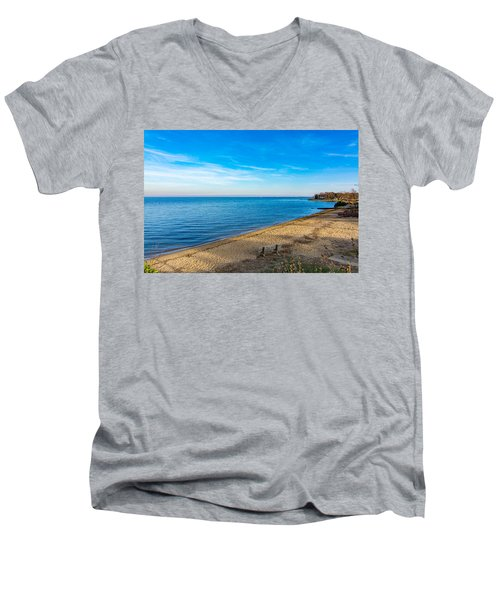 Men's V-Neck T-Shirt featuring the photograph Hillsmere Beach On The Chesapeake by Charles Kraus