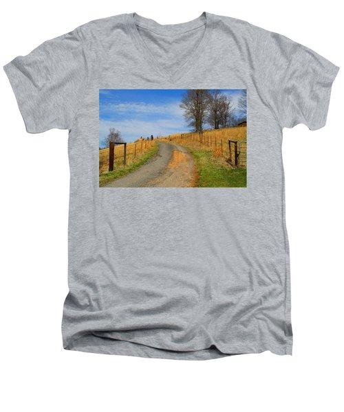 Hilltop Driveway Men's V-Neck T-Shirt by Kathryn Meyer