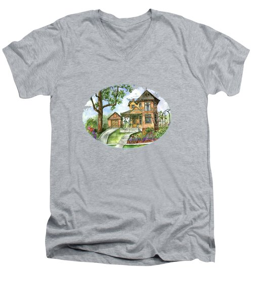 Hilltop Home Men's V-Neck T-Shirt by Shelley Wallace Ylst