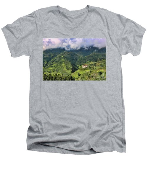 Hilltop Sapa Men's V-Neck T-Shirt by Chuck Kuhn