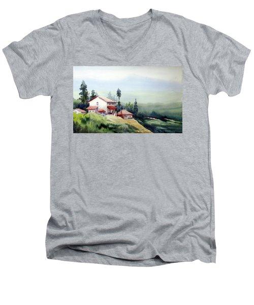 Himalaya Village Men's V-Neck T-Shirt by Samiran Sarkar