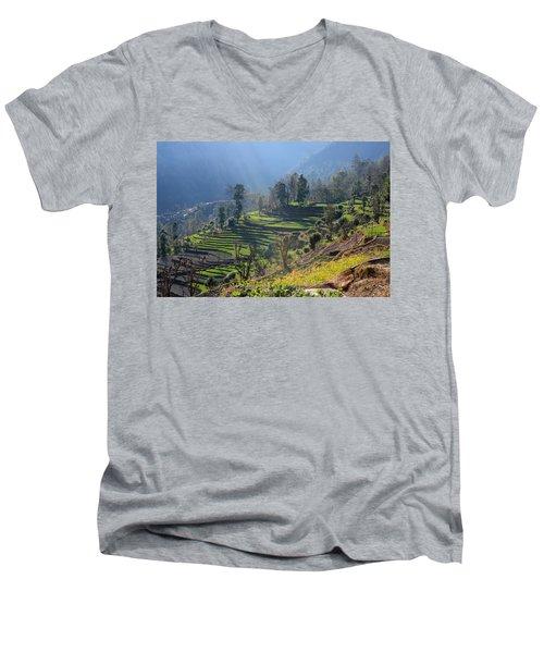 Himalayan Stepped Fields - Nepal Men's V-Neck T-Shirt by Aidan Moran