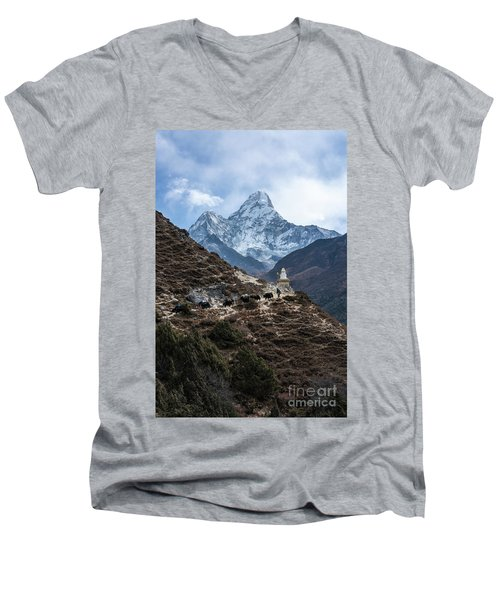 Men's V-Neck T-Shirt featuring the photograph Himalayan Yak Train by Mike Reid