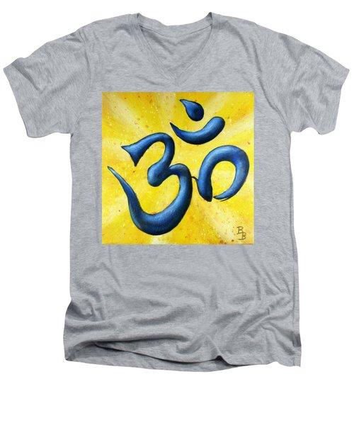 Men's V-Neck T-Shirt featuring the painting Hindu Om Symbol Art by Bob Baker