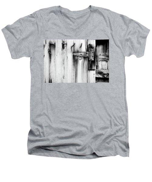 Hinged In Black And White Men's V-Neck T-Shirt