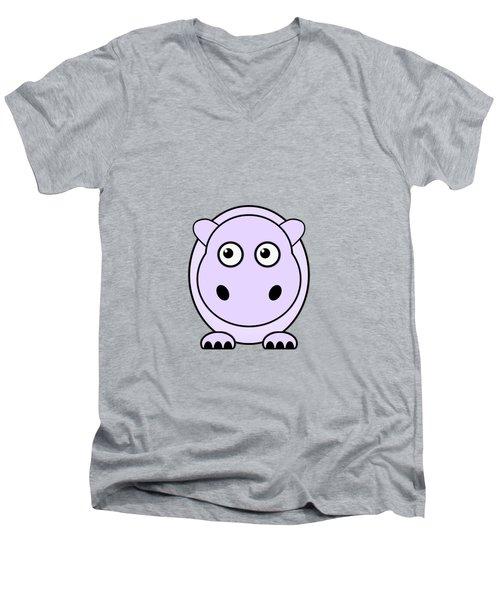 Hippo - Animals - Art For Kids Men's V-Neck T-Shirt by Anastasiya Malakhova