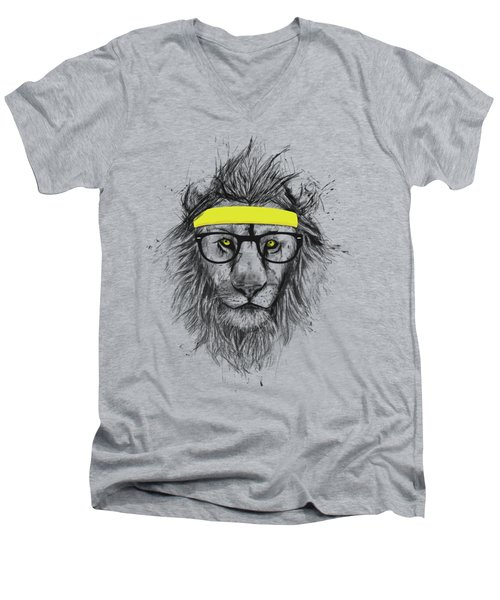 Hipster Lion Men's V-Neck T-Shirt