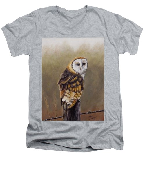 Men's V-Neck T-Shirt featuring the painting His Majesty Sits by Dan Wagner