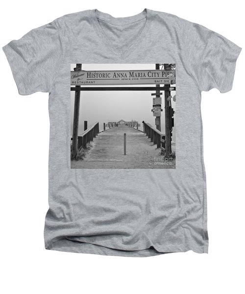 Historic Anna Maria City Pier In Fog Infrared 52 Men's V-Neck T-Shirt