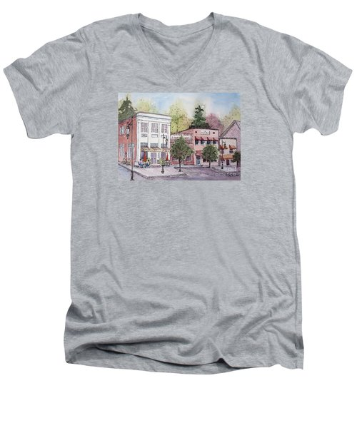 Men's V-Neck T-Shirt featuring the painting Historic Blue Ridge, Georgia by Gretchen Allen