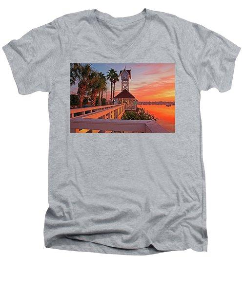 Historic Bridge Street Pier Sunrise Men's V-Neck T-Shirt