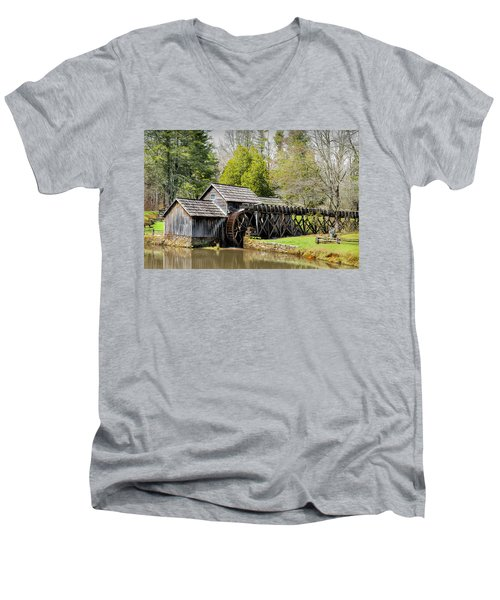 Historic Mabry Mill In Early Spring Men's V-Neck T-Shirt