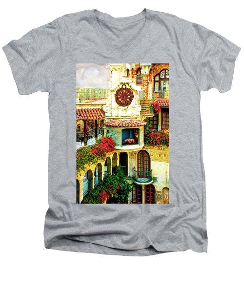 Historic Mission Inn Clock Men's V-Neck T-Shirt