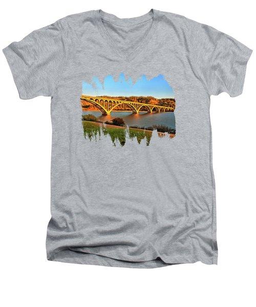 Historic Patterson Bridge Gold Beach Men's V-Neck T-Shirt by Thom Zehrfeld