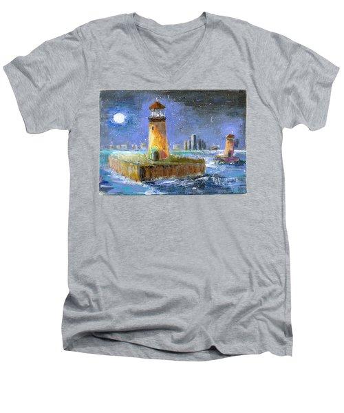 Historical 1859 South Channel Lights Full Moon Men's V-Neck T-Shirt