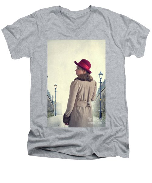 Historical Woman In An Overcoat And Red Hat Men's V-Neck T-Shirt by Lee Avison