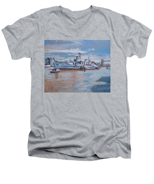 Hms Belfast Shows Off In The Sun Men's V-Neck T-Shirt