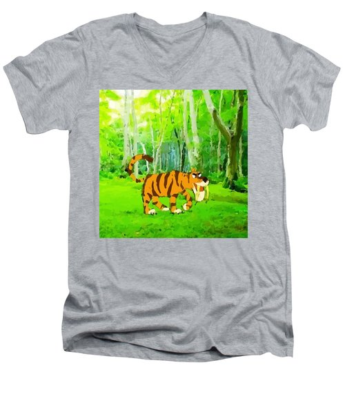 Hungry Tiger In The Jungle Men's V-Neck T-Shirt