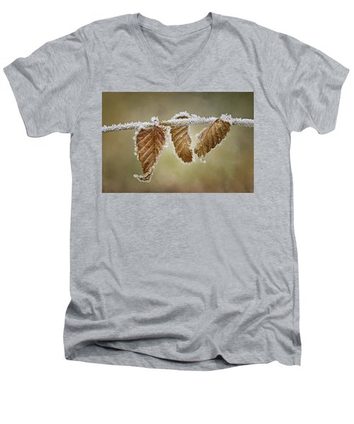 Men's V-Neck T-Shirt featuring the photograph Hoar Frost - Leaves by Nikolyn McDonald