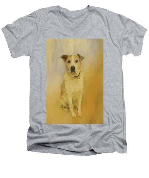 Men's V-Neck T-Shirt featuring the photograph Hobbit The Harrier Hound by Bellesouth Studio
