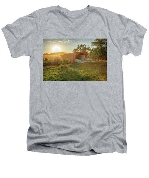 Hogback Covered Bridge 2 Men's V-Neck T-Shirt