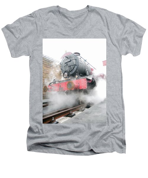 Men's V-Neck T-Shirt featuring the photograph Hogwarts Express Train by Juergen Weiss