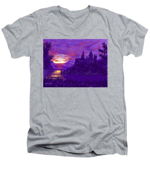 Hogwarts In Purple Men's V-Neck T-Shirt
