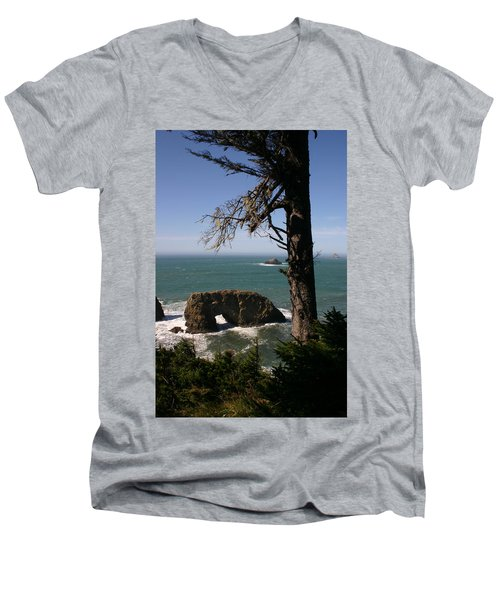 Men's V-Neck T-Shirt featuring the photograph Hole In One At Arch Rock by Marie Neder