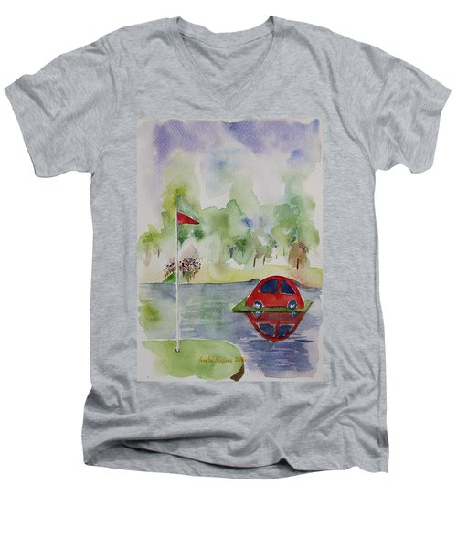 Men's V-Neck T-Shirt featuring the painting Hole In One Prize by Geeta Biswas