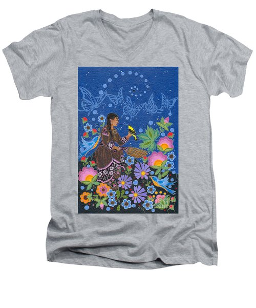 Men's V-Neck T-Shirt featuring the painting Hole In The Sky's Daughter by Chholing Taha